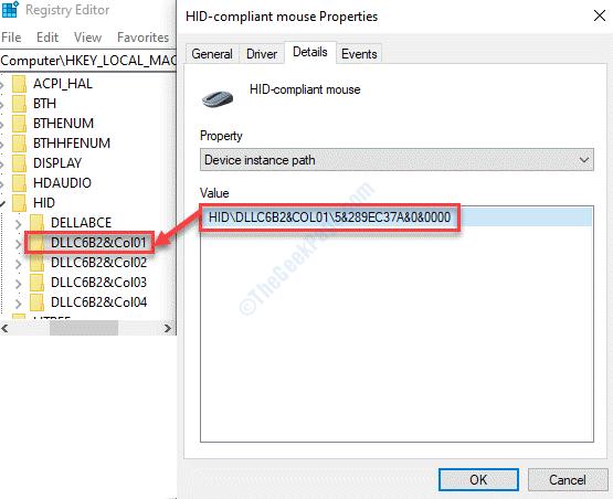 Editor del registro Navegue a la clave de coincidencia oculta de ruta con la ruta mínima del administrador de dispositivos