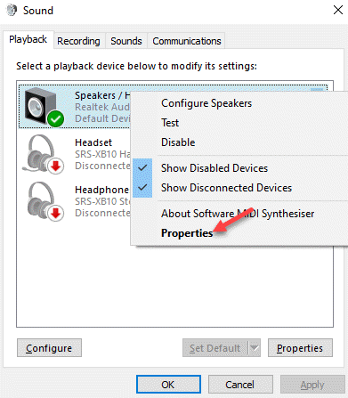 Panel de control de sonido Ficha de reproducción Altavoz predeterminado Haga clic con el botón derecho en Propiedades