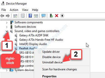 Administrador de dispositivos Controladores de sonido, video y juegos Realtek Audio Clic derecho Desinstalar