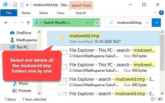 Msdownld.tmp Seleccione y elimine todas las carpetas una por una