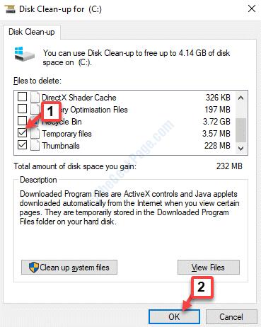 Cuadro de diálogo Liberar espacio en disco Archivos temporales Marcar Aceptar