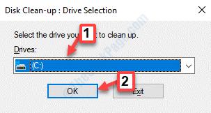 Cuadro de limpieza de disco Seleccionar unidad Ok