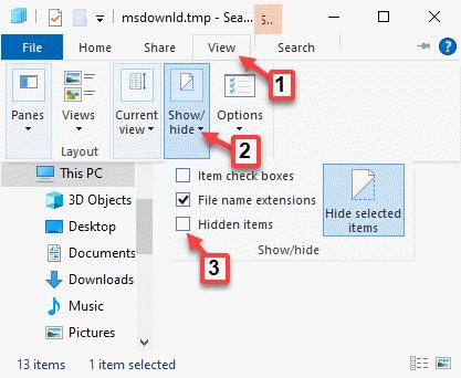 Vista del Explorador de archivos Mostrar u ocultar elementos ocultos Desmarcar