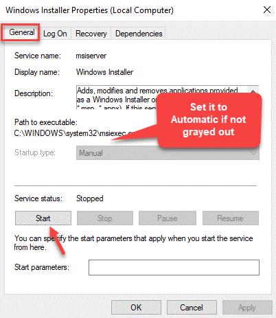 Propiedades de Windows Installer General Tipo de inicio Inicio manual Aplicar Aceptar