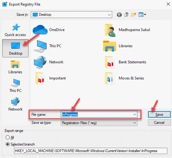 Exportar archivo de registro Nombre de archivo de escritorio Guardar