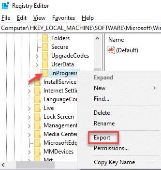 Editor del registro Inprogress Haga clic con el botón derecho en Exportar