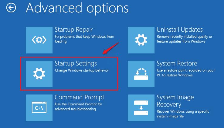 Configuración de inicio de reparación de inicio