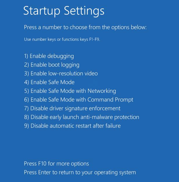 Opciones de configuración de inicio Modo seguro 1234 Reparación de inicio