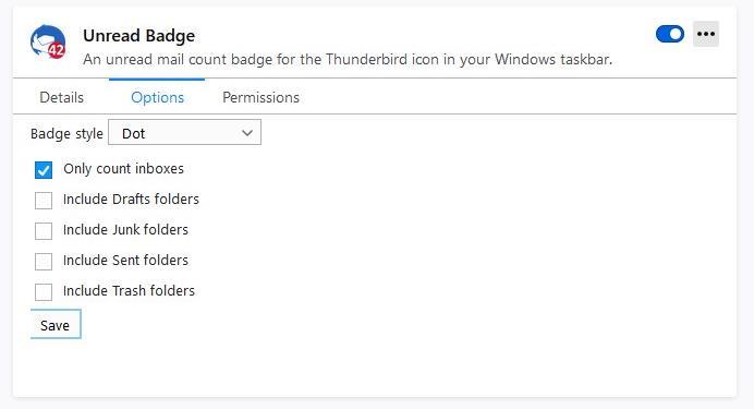 Opciones de insignia no leída de la barra de tareas de Windows