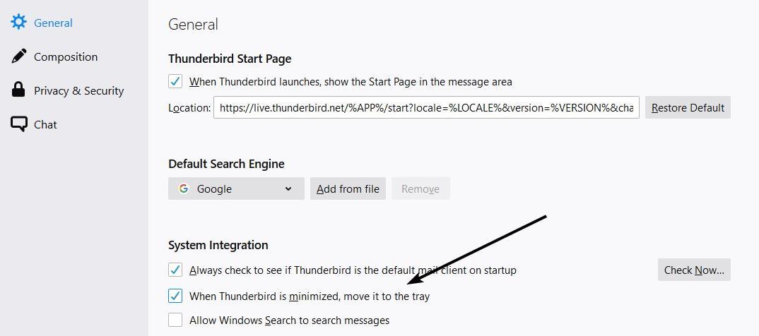 Thunderbird minimizar a la bandeja