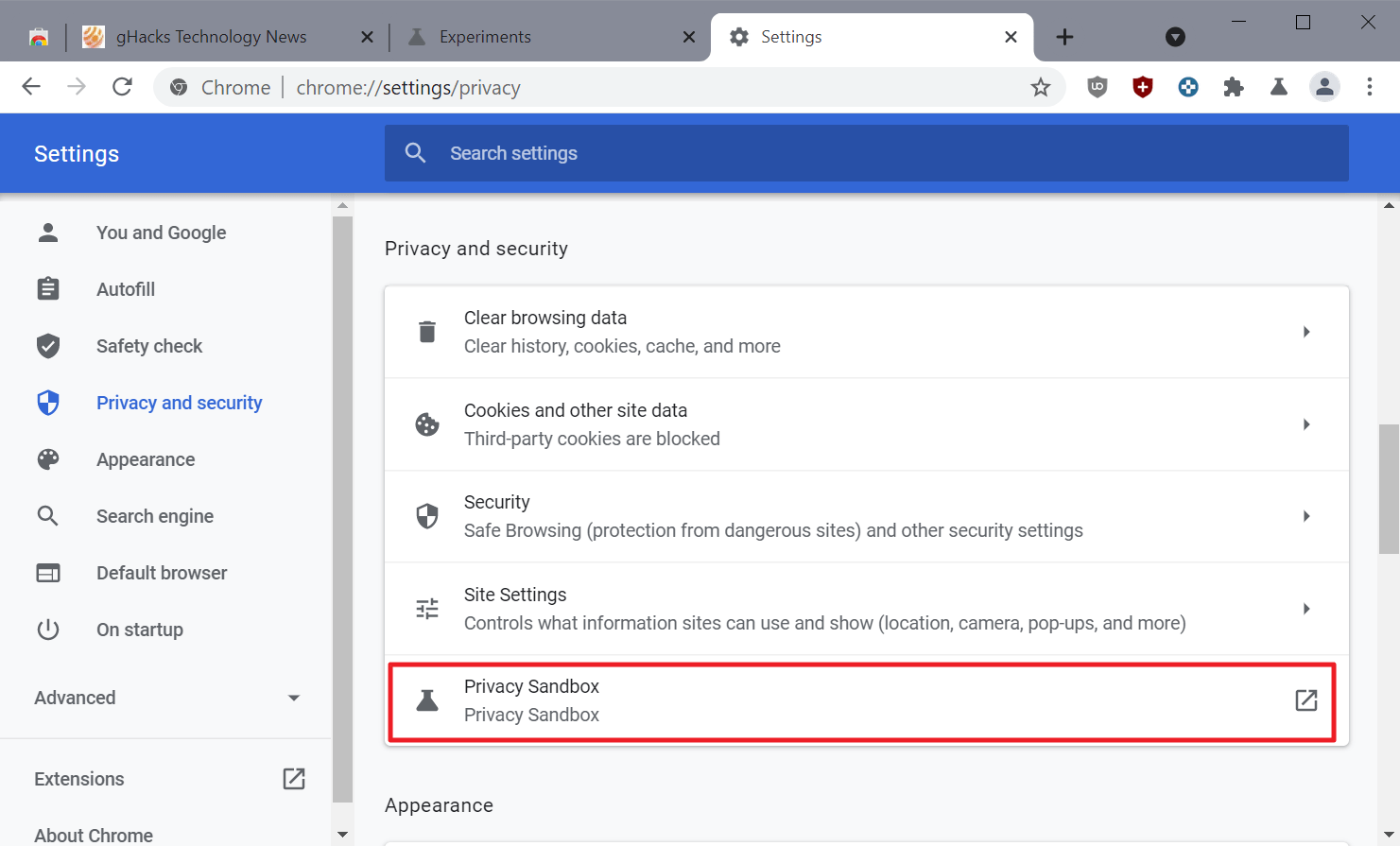 configuración de la zona de pruebas de privacidad de Chrome