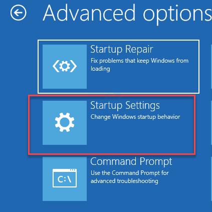 Opciones avanzadas Reparación de inicio Configuración de inicio Símbolo del sistema Mín.