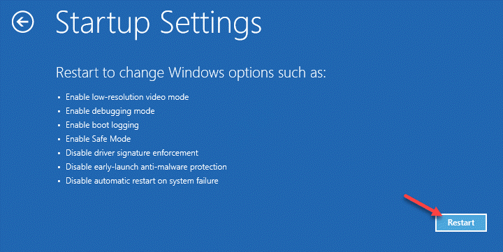 Configuración de inicio Reiniciar Reparación de inicio Mín.