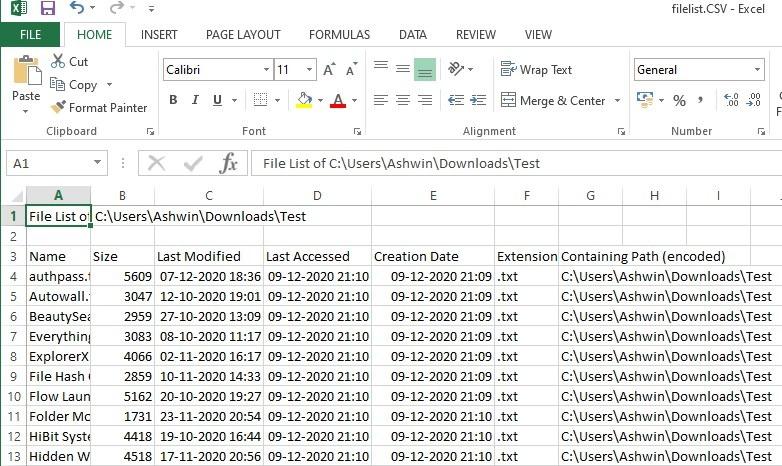 exportar lista de archivos a csv