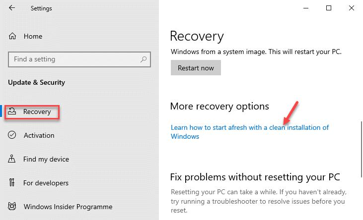 Recuperación Más opciones de recuperación Aprenda a empezar de nuevo con una instalación limpia de Windows