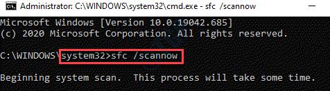 Símbolo del sistema (admin) Ejecutar comando Sfc Scannow Enter