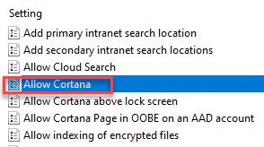 Permitir Cortana Dc Min