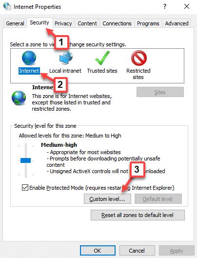 Propiedades de Internet Seguridad Nivel personalizado de Internet