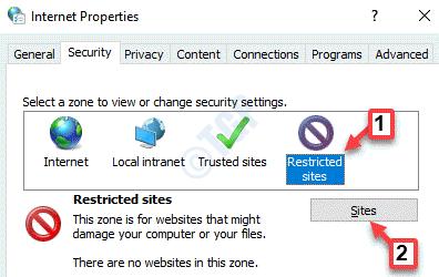 Propiedades de Internet Seguridad Sitios restringidos Sitios