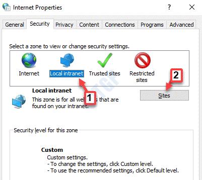 Propiedades de Internet Sitios de intranet locales