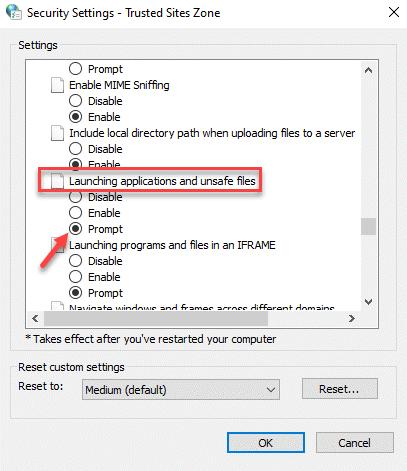 Configuración de seguridad Zona de sitios de confianza Aplicaciones de inicio y archivos no seguros Solicitar Ok