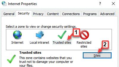Propiedades de Internet Sitios de confianza Sitios