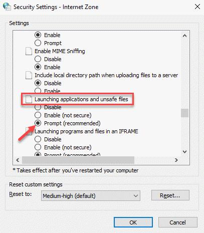 Configuración de seguridad Zona de Internet Aplicaciones de inicio y solicitud de archivos no seguros (recomendado) Ok