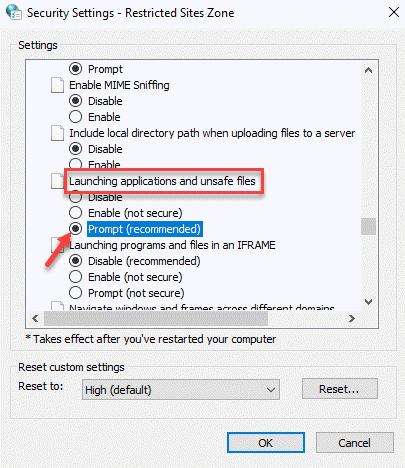 Configuración de seguridad Zona de sitios restringidos Lanzamiento de aplicaciones y solicitud de archivos no seguros (recomendado) Ok