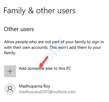 Familia y otros usuarios Otros usuarios añaden a alguien más a esta PC