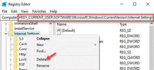 Editor del registro Navegue a la configuración de Internet Haga clic con el botón derecho en Eliminar