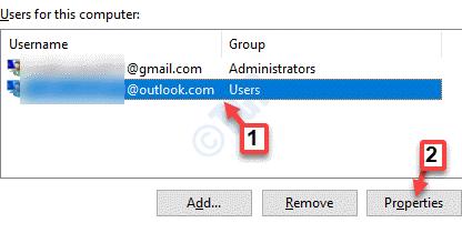 Cuentas de usuario Los usuarios seleccionan las propiedades de la cuenta recién creada