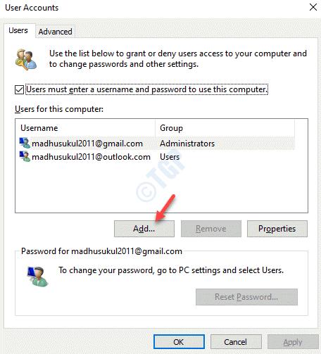 Cuentas de usuario Usuarios agregar