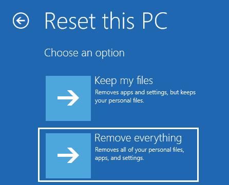5 Restablecer PC Quitar todo Reparación de inicio