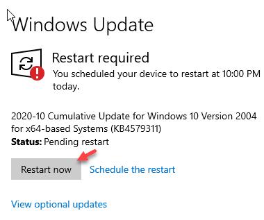 Ver actualización opcional Reiniciar ahora Min