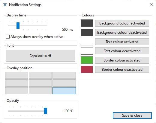 Configuración de notificaciones del indicador de bloqueo de mayúsculas