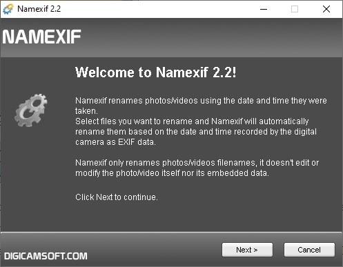 Interfaz Namexif