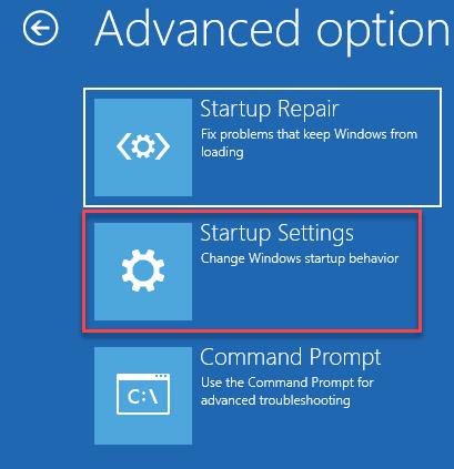 Configuración de inicio Re