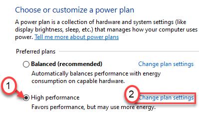 Plan de energía de alto rendimiento Mín.