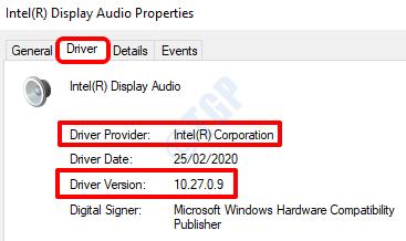 3 Proveedor de versiones del controlador de audio