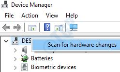 6 Escanear cambios de hardware