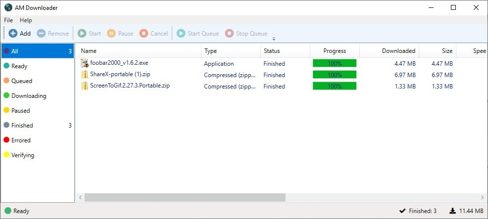 AM Downloader is an open source download manager with a simple interface