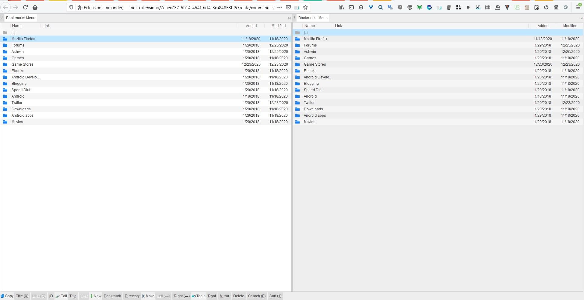 Administre sus accesos directos web desde una interfaz de doble panel con la extensión Bookmarks Commander para Firefox y Chrome