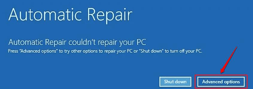 2 Botón de opciones avanzadas de reparación de inicio