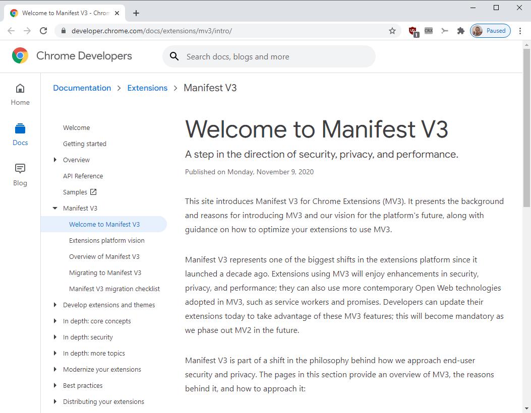 manifest v3 chrome