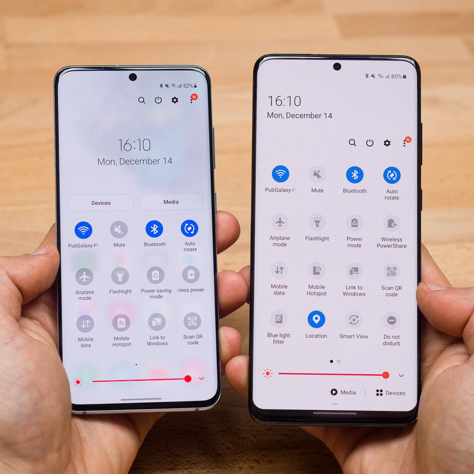 Observe los íconos redondeados en la primera imagen y el fondo desplegable de notificación transparente en la segunda: review de Samsung One UI 3.0
