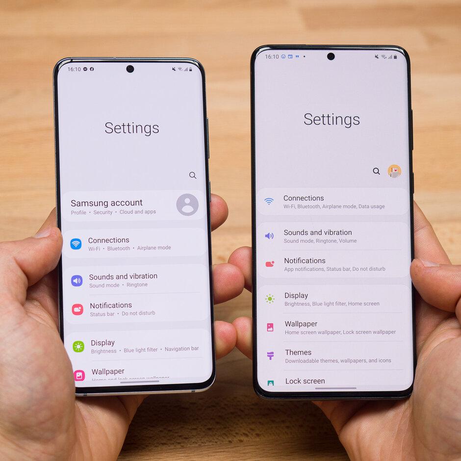 One UI 3.0 a la izquierda, One UI 2.5 a la derecha - Review de Samsung One UI 3.0