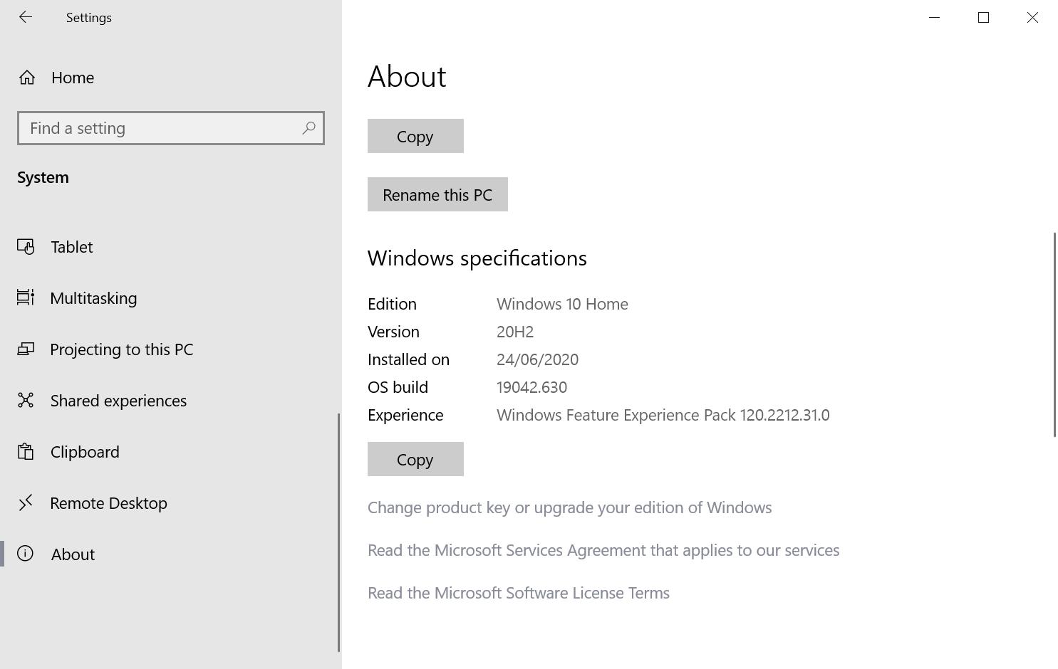 paquete de experiencia de funciones de Windows