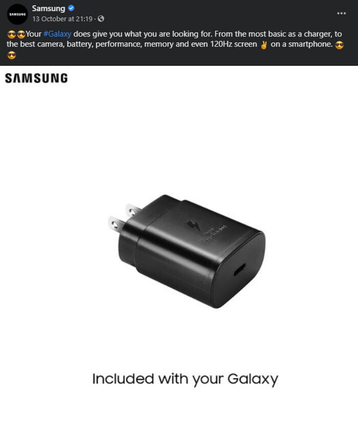 Samsung ha eliminado esta publicación de Facebook ahora: Samsung ahora finge que nunca se burló de Apple por vender nuevos iPhones sin cargador