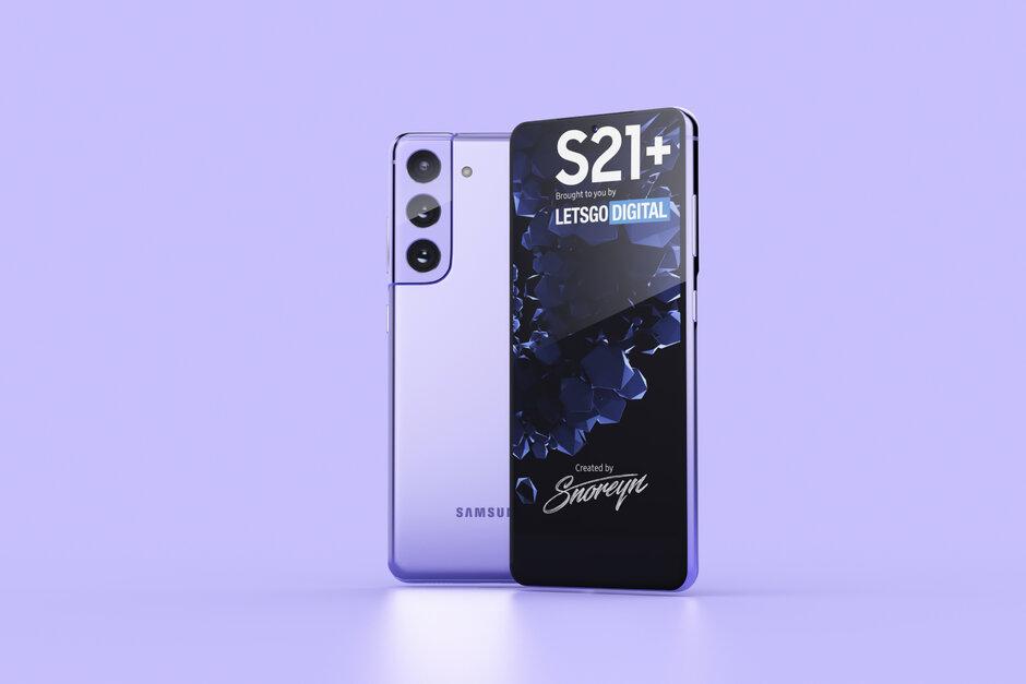 Samsung Galaxy S21 + en el renderizado del concepto Phantom Violet - Las más nuevas opciones de almacenamiento de detalles de fugas del Samsung Galaxy S21 5G, nuevas fundas para S Pen