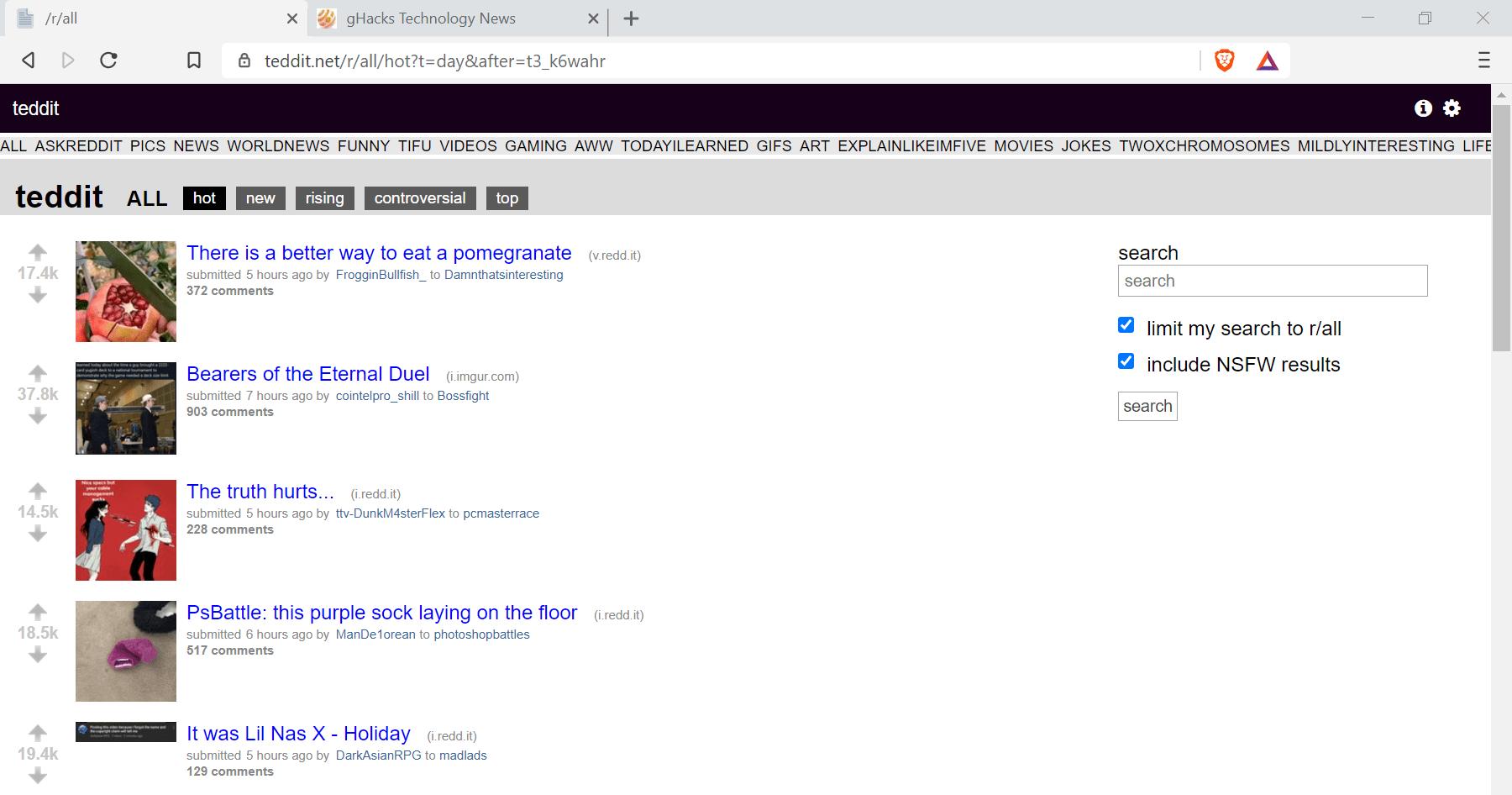 teddit reddit con privacidad